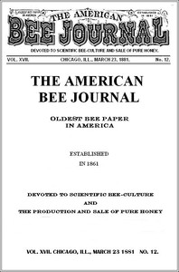 Cover of The American Bee Journal. Vol. XVII, No. 12, Mar. 23, 1881