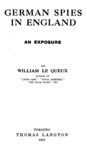 Cover of German Spies in England: An Exposure