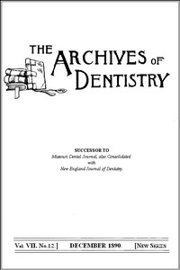 Cover of The Archives of Dentistry, Vol. VII, No. 12, December 1890