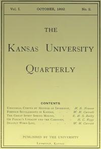 The Kansas University Quarterly, Vol. I, No. 2, October 1892