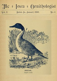 Cover of The Iowa Ornithologist, Volume 2, No. 2, January 1896For the Student of Birds