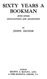 Cover of Sixty Years a Bookman, With Other Recollections and Reflections