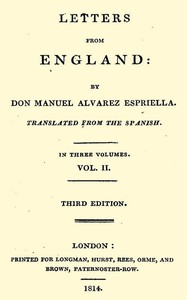Cover of Letters from England, Volume 2 (of 3)