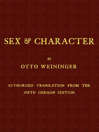 Cover of Sex & CharacterAuthorised Translation from the Sixth German Edition