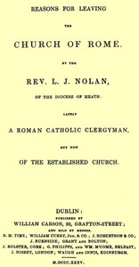 Reasons for Leaving the Church of Rome