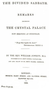 Cover of The Divided Sabbathremarks concerning the Crystal Palace now erecting at Sydenham