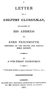 Cover of A letter to a country clergyman, occasioned by his address to Lord Teignmouth
