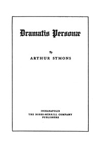 Cover of Dramatis Personæ