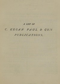 Cover of A List of C. Kegan Paul & Co.'s Publications [1879]