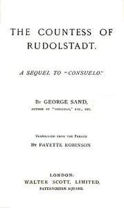 "Cover of The Countess of RudolstadtA Sequel to ""Consuelo"""