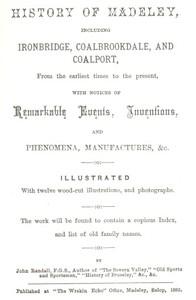 Cover of History of Madeleyincluding Ironbridge, Coalbrookdale, and Coalport