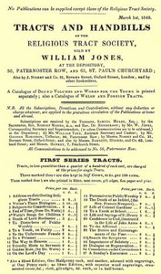 Cover of Tracts and Handbills of the Religious Tract Society, March 1st, 1843