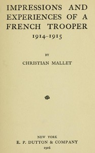 Cover of Impressions and Experiences of a French Trooper, 1914-1915