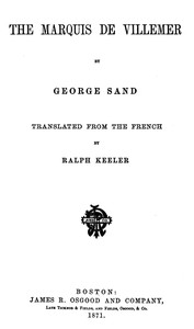 Cover of The Marquis de Villemer