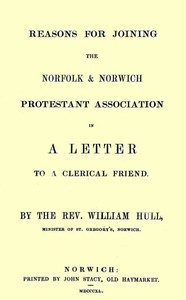 Cover of Reasons for joining the Norfolk & Norwich Protestant Association in a letter to a clerical friend