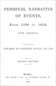 Personal Narrative of Events, From 1799 to 1815