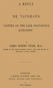 """Cover of A Reply to Dr. Vaughan's """"Letter on the Late Post-Office Agitation"""""""