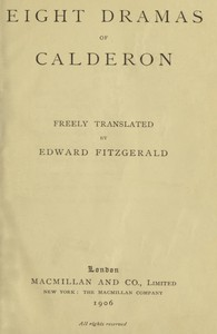 Cover of Eight Dramas of Calderon
