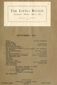 The Little Review, September 1914 (Vol. 1, No. 6)