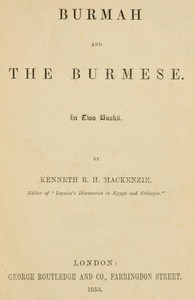 Cover of Burmah and the Burmese