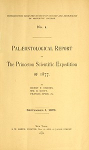 Palæontological Report of the Princeton Scientific Expedition of 1877