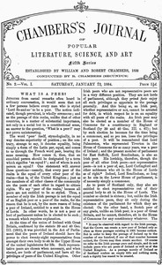 Cover of Chambers's Journal of Popular Literature, Science, and Art, Fifth Series, No. 2, Vol. I, January 12, 1884
