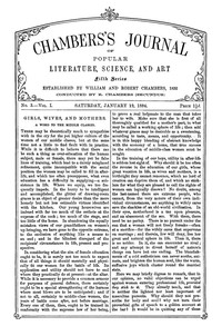 Chambers's Journal of Popular Literature, Science, and Art, Fifth Series, No. 3, Vol. I, January 19, 1884