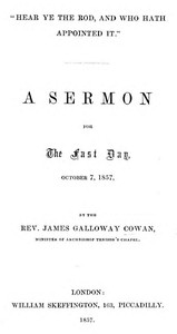 """Cover of """"Hear Ye the Rod, and Who Hath Appointed It"""" A Sermon for the Fast Day, October 7, 1857"""