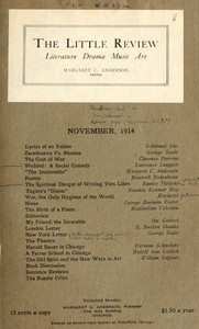 Cover of The Little Review, November 1914 (Vol. 1, No. 8)