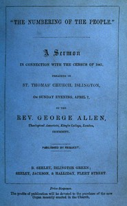 """Cover of """"The Numbering of the People"""" A Sermon in conjunction with the census of 1861 preached in St. Thomas' Church, Islington, on Sunday Evening, April 7"""