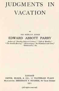 Cover of Judgments in Vacation