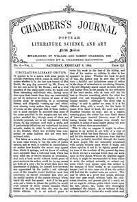 Chambers's Journal of Popular Literature, Science, and Art, Fifth Series, No. 6, Vol. I, February 9, 1884
