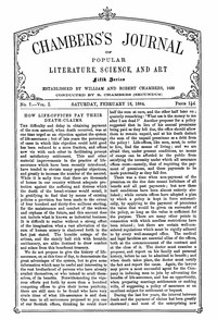 Cover of Chambers's Journal of Popular Literature, Science, and Art, Fifth Series, No. 7, Vol. I, February 16, 1884Volume 18