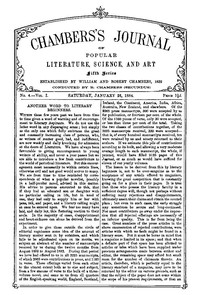 Cover of Chambers's Journal of Popular Literature, Science, and Art, Fifth Series, No. 4, Vol. I, January 26, 1884
