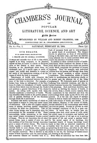 Cover of Chambers's Journal of Popular Literature, Science, and Art, Fifth Series, No. 8, Vol. I, February 23, 1884