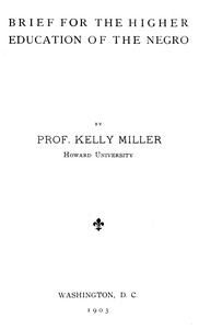 Cover of Brief for the higher education of the negro