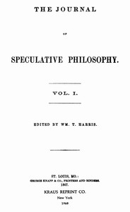 Cover of The Journal of Speculative Philosophy, Vol. I, Nos. 1-4, 1867