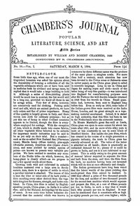 Cover of Chambers's Journal of Popular Literature, Science, and Art, Fifth Series, No. 10, Vol. I, March 8, 1884