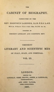 Cover of Eminent literary and scientific men of Italy, Spain, and Portugal. Vol. 3 (of 3)