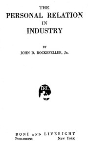 Cover of The Personal Relation in Industry