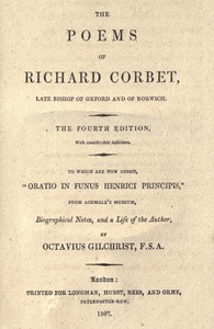 Cover of The Poems of Richard Corbet, late bishop of Oxford and of Norwich4th edition