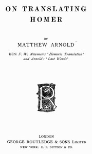 Cover of On Translating Homer