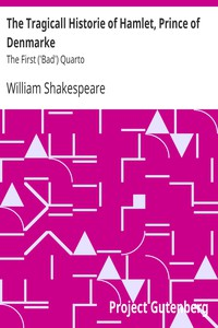 Cover of The Tragicall Historie of Hamlet, Prince of Denmarke The First ('Bad') Quarto