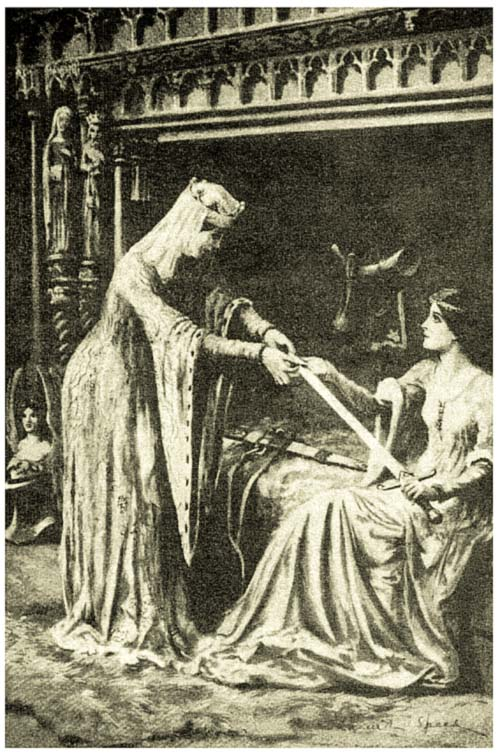 And running to her chamber, she sought in her casket for the piece of iron ... and fitted it in Tristram's sword.