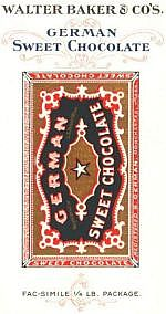 Walter Baker & Co's. German Sweet Chocolate Fac-simile 1/4 Lb. Package.