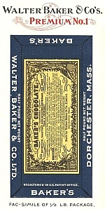 Walter Baker & Co's. Premium No. 1 Fac-simile of 1/2 Lb. Package.