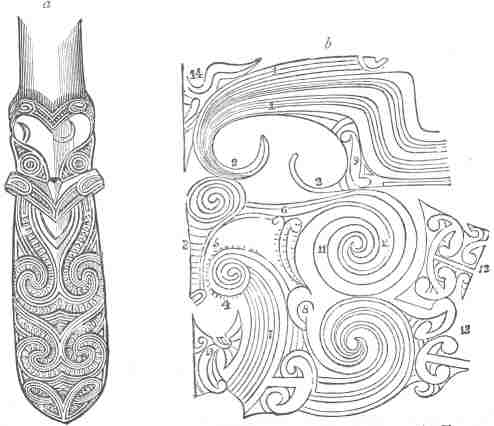 Fig 5.  a, A Maori Design; b, Tattoo on a Maori's face