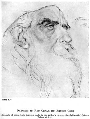 Plate XIV. DRAWING IN RED CHALK BY ERNEST COLE Example of unacademic drawing made in the author's class at the Goldsmiths College School of Art.