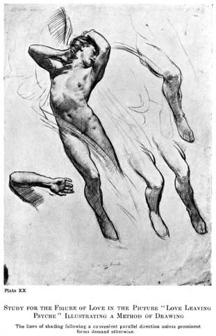 """Plate XX. STUDY FOR THE FIGURE OF LOVE IN THE PICTURE """"LOVE LEAVING PSYCHE"""" ILLUSTRATING A METHOD OF DRAWING The lines of shading following a convenient parallel direction unless prominent forms demand otherwise."""