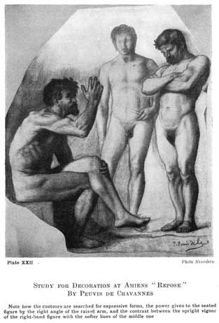 """Plate XXII. STUDY FOR DECORATION AT AMIENS """"REPOSE"""" BY PEUVIS DE CHAVANNES Note how the contours are searched for expressive forms, the power given to the seated figure by the right angle of the raised arm, and the contrast between the upright vigour of the right-hand figure with the softer lines of the middle one. Photo Neurdein"""